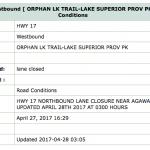 Lane Closure (Orphan Lake Trail – LSPP)