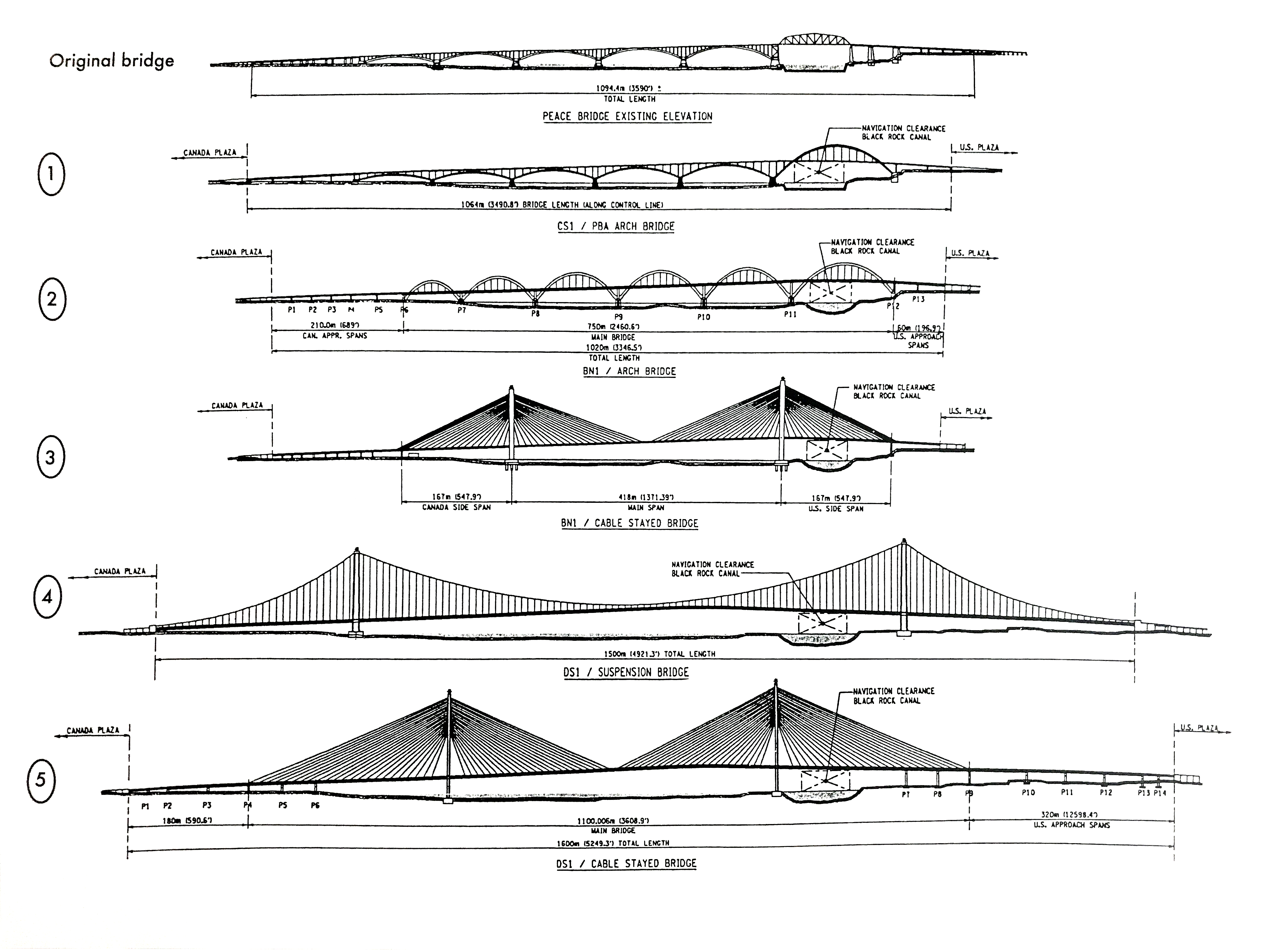 Five proposed designs for the Peace Bridge Replacement