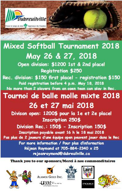 Dubreuilville - Mixed Softball Tournament 2018 @ Dubreuilville, Ontario