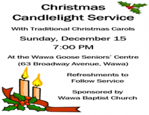 Christmas Candlelight Service @ Wawa Goose Senior's Centre