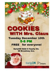 Cookies with Mrs. Claus @ EarlyOn Child & Family Centre